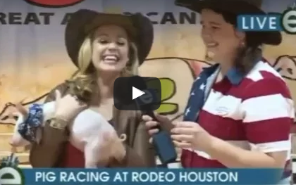 Reporter instantly regrets holding poopy pig on live TV