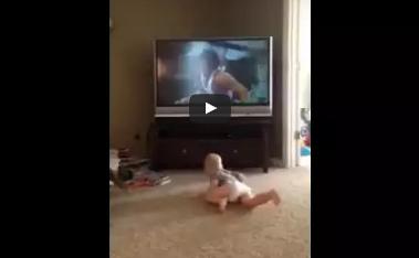 Baby Imitates Rocky Balboa