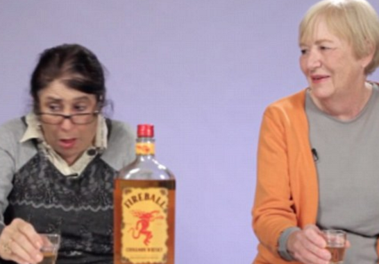 Grandmothers throw back shots of Fireball whisky for the very first time